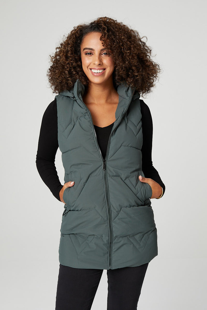 Green | Quilted Zip Front Longline Gilet
