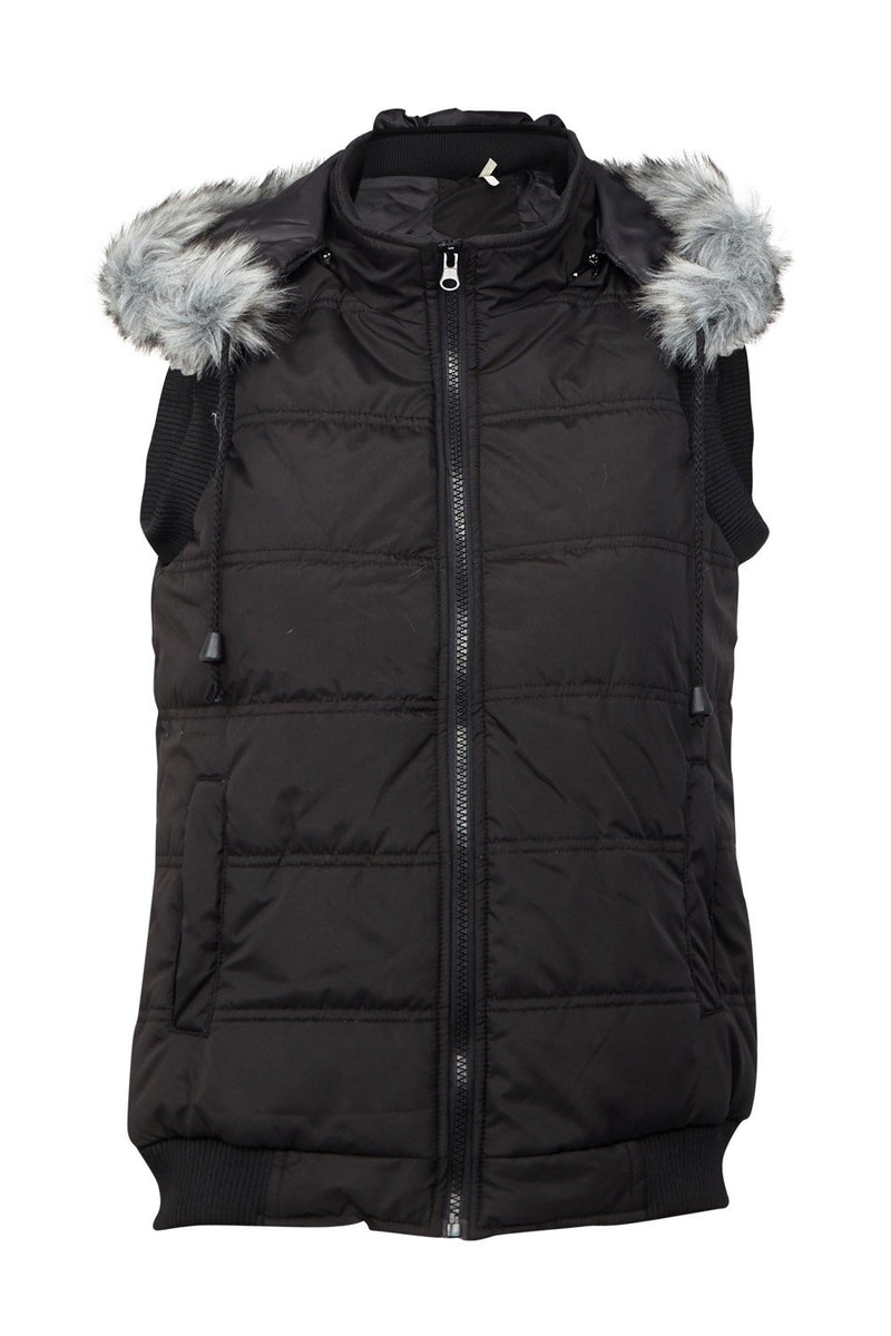 Black | Faux Fur Hood Gilet