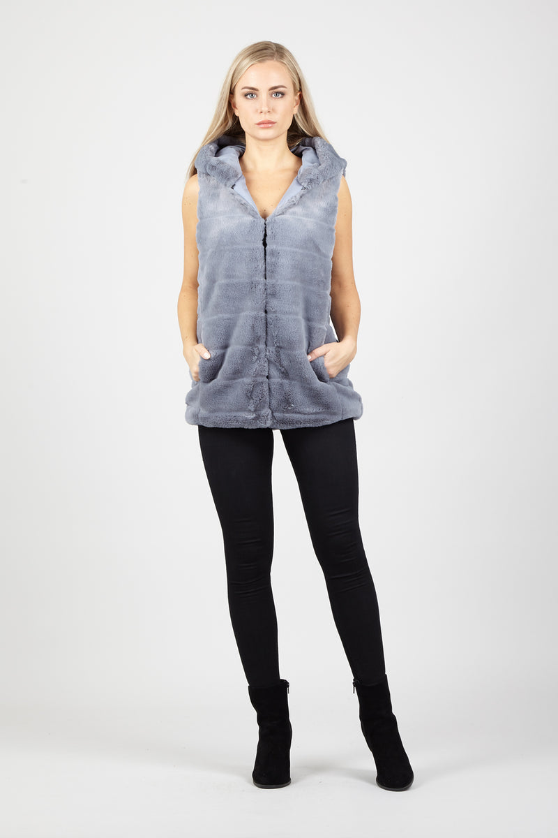 Faux Fur Hooded Gilet - Izabel London