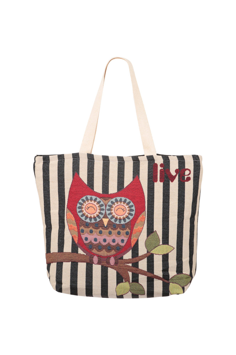 Navy | Striped Owl Shopper Bag