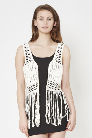 Cropped Woven Waistcoat With Fringing