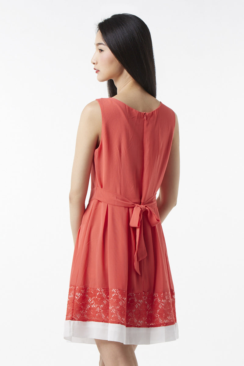 Orange | Floral Lace Hem Dress