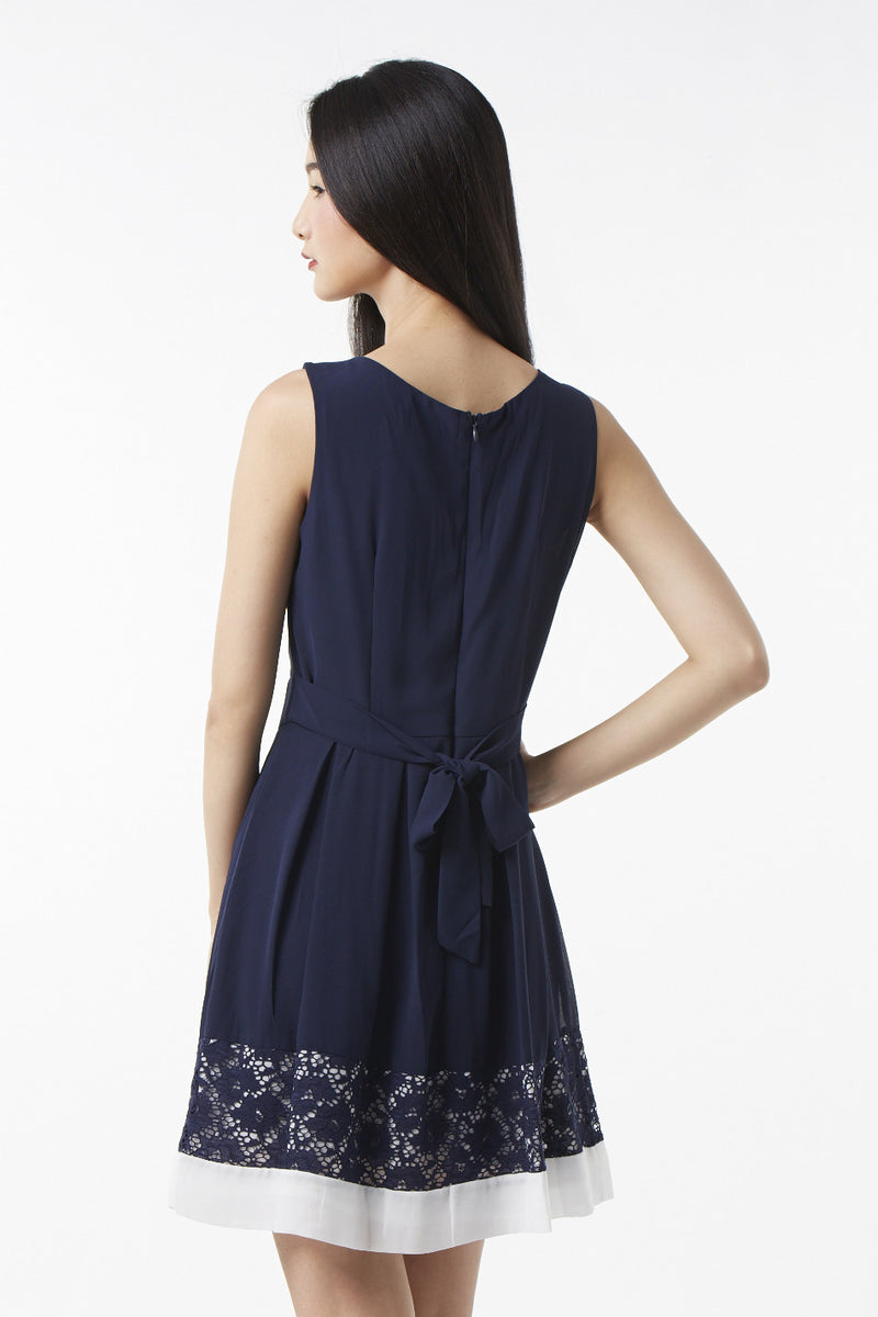Navy | Floral Lace Hem Dress