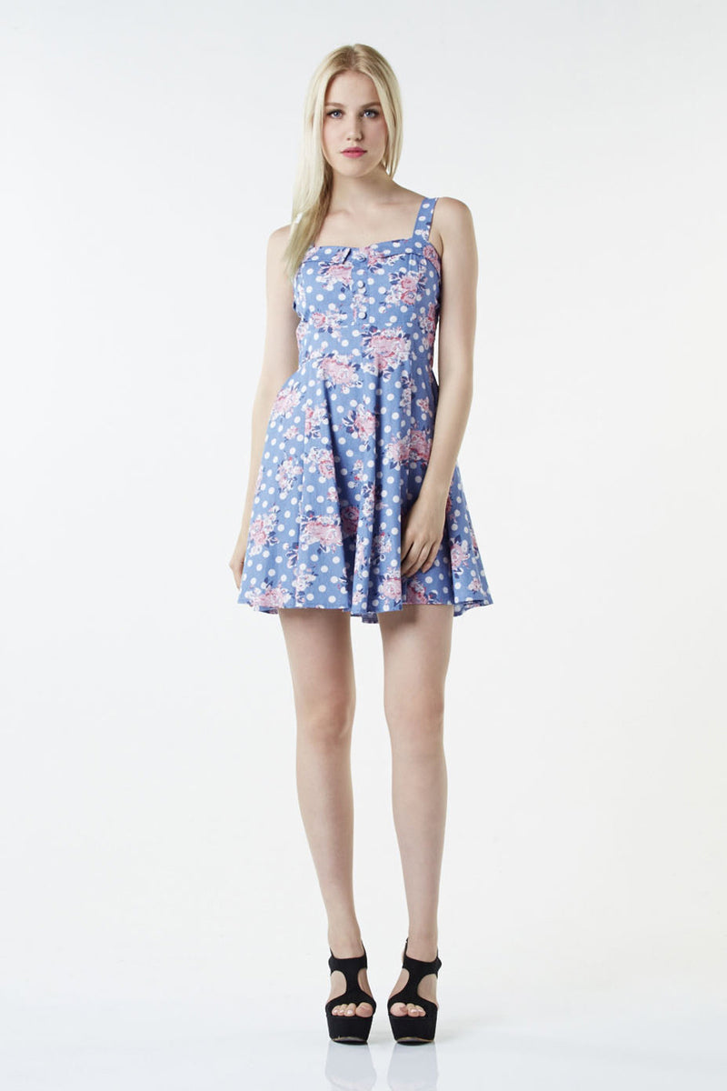 Floral Polka Dot Sundress - Izabel London
