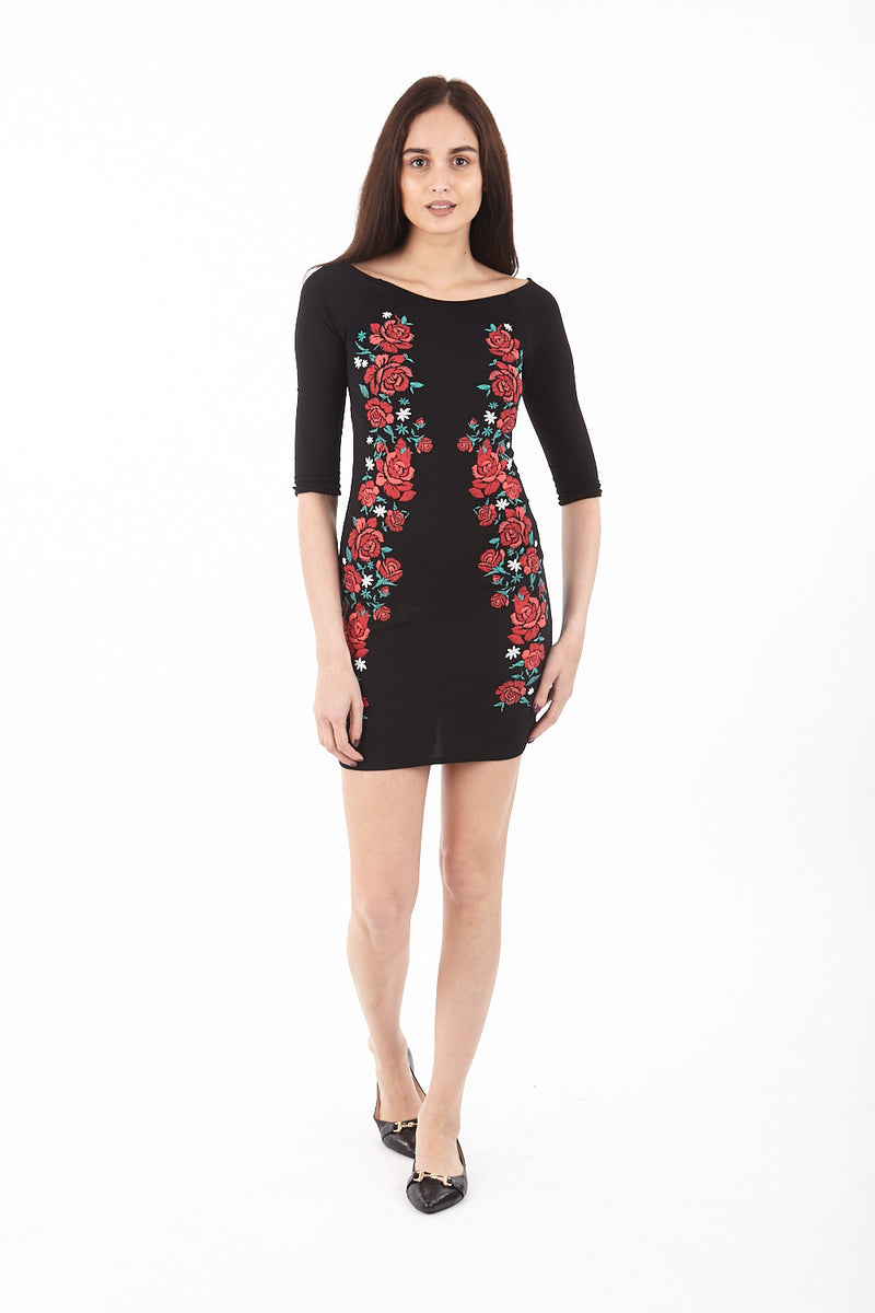 Floral Embroidered Bardot Dress - Izabel London