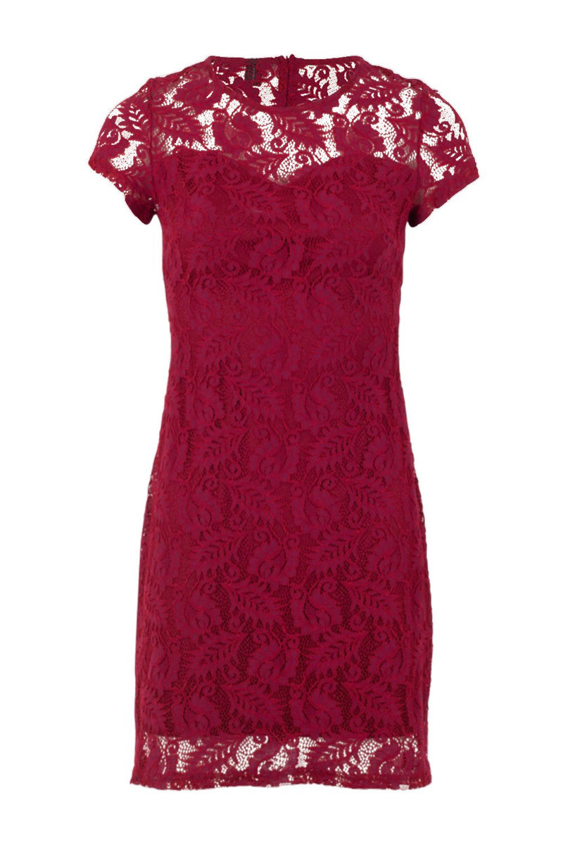 Leaf Lace Overlay Dress - Izabel London