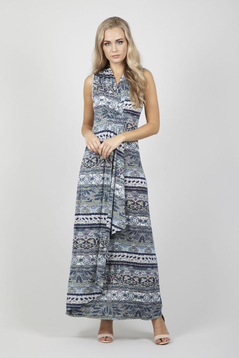 Teal Geo Print Maxi Dress - Izabel London