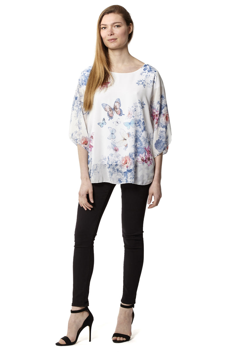 Floral & Butterfly Chiffon Top - Izabel London