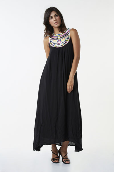 Aztec Detail Maxi Dress - Izabel London