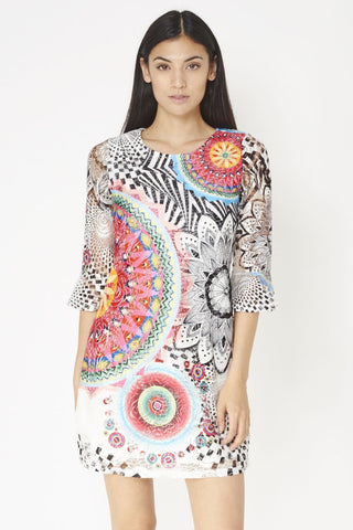 Net Shift Dress With Psychedelic Print
