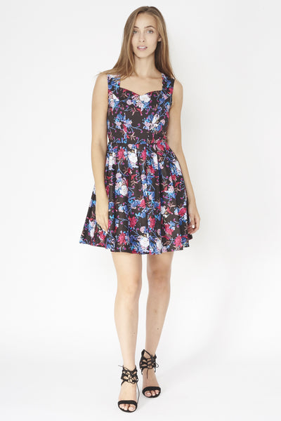 Floral Fit-And-Flare Dress - Izabel London