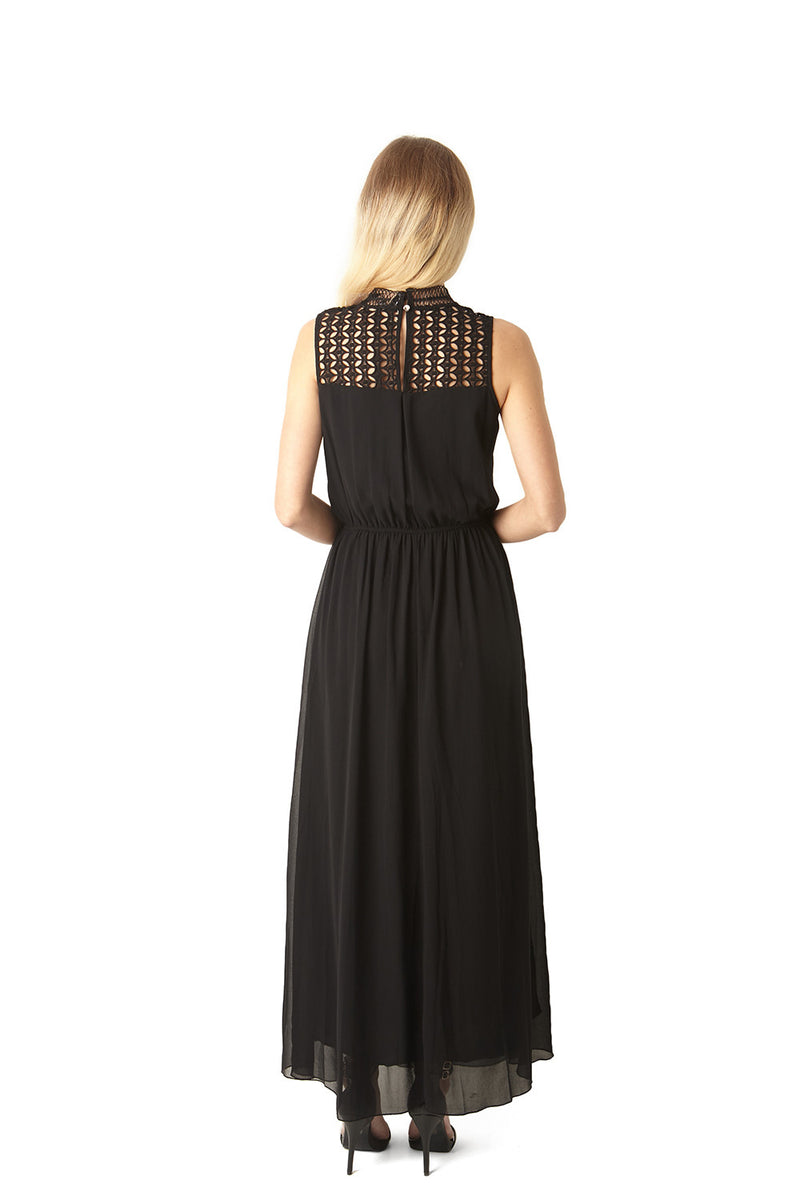 Black | High Neck Detail Maxi Dress
