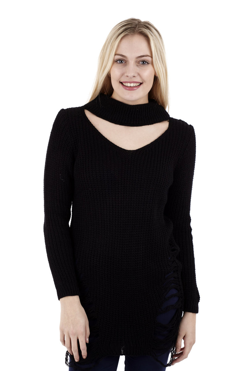 Cold Shoulder V-Neck Jumper - Izabel London