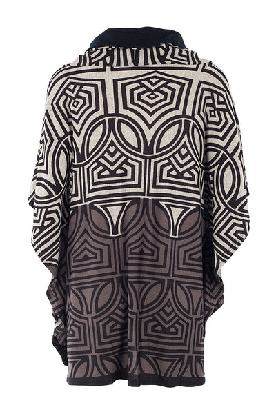 Mosaic Roll Neck Poncho - Izabel London