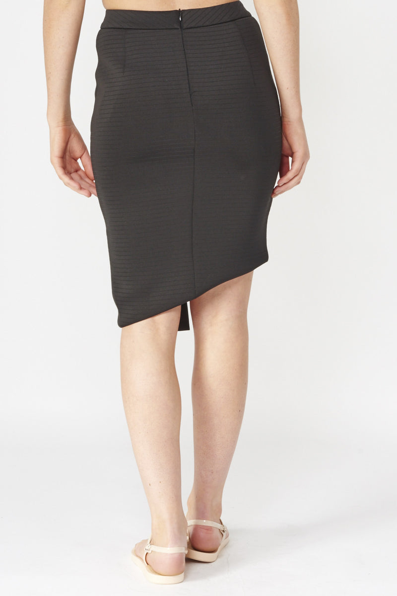 Black | Asymmetric Skirt With Fold Over Detail