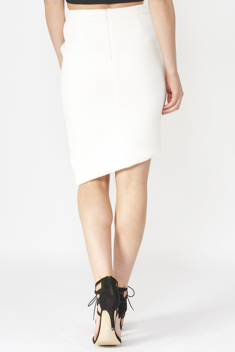 White | Asymmetric Skirt With Fold Over Detail