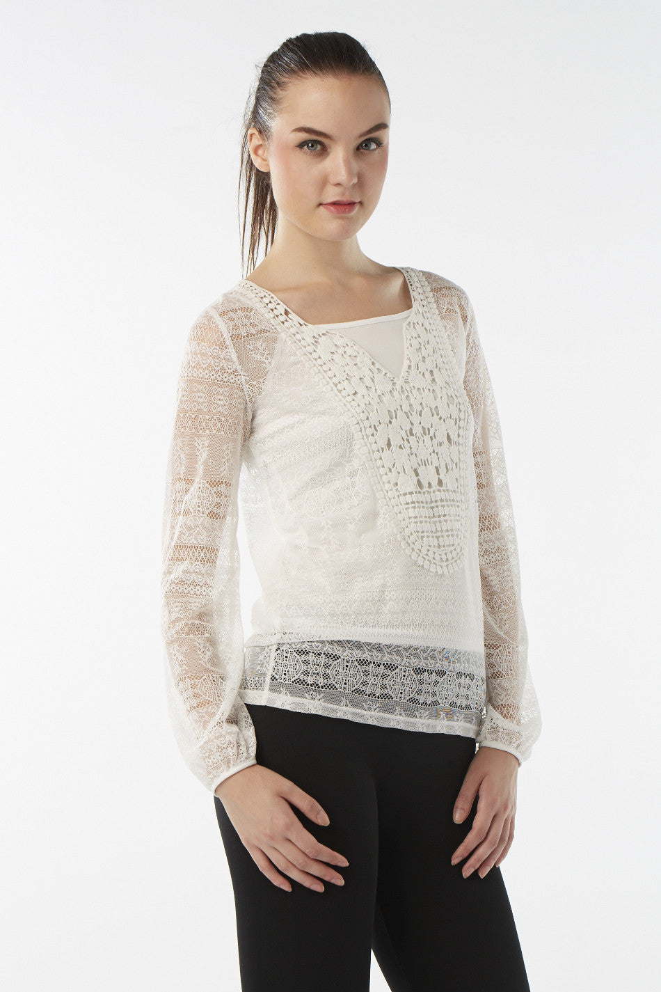Layered Floral Crochet Top - Izabel London
