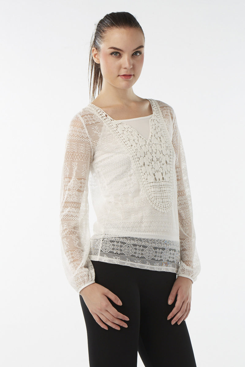 Beige | Layered Floral Crochet Top