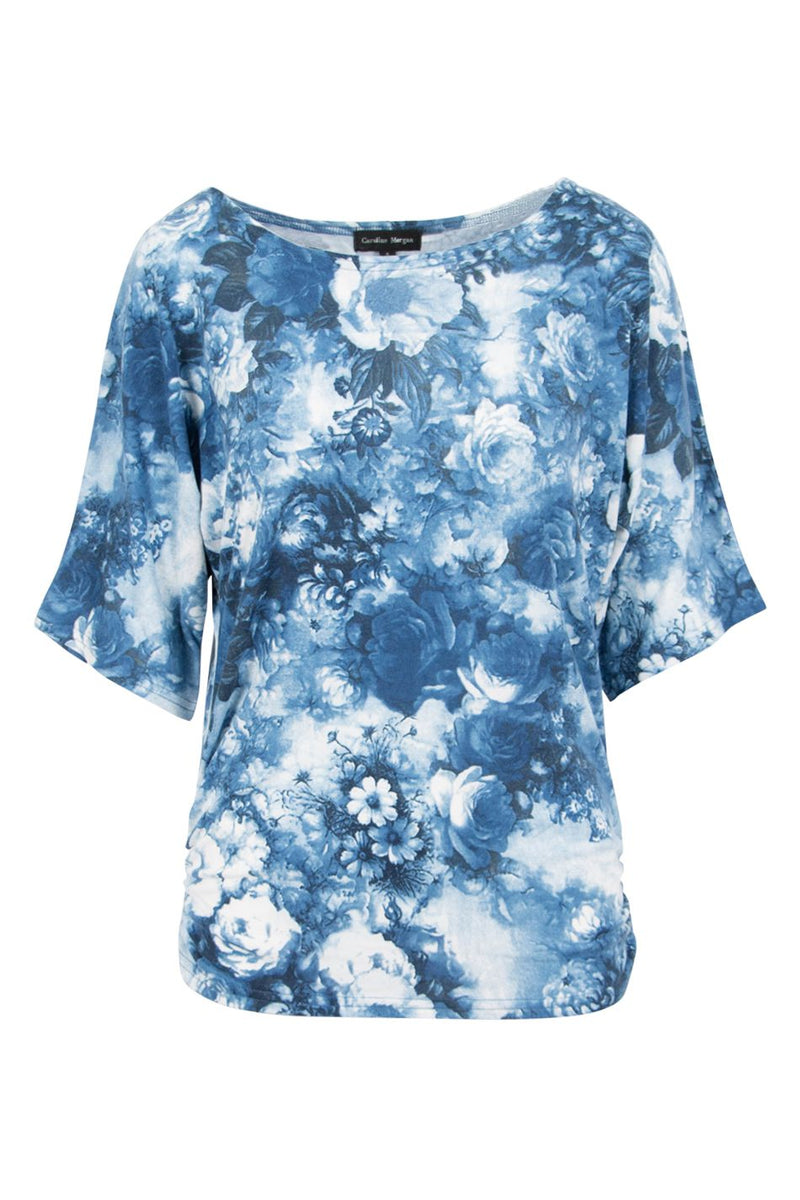Blue | Oversized Rose Print Top