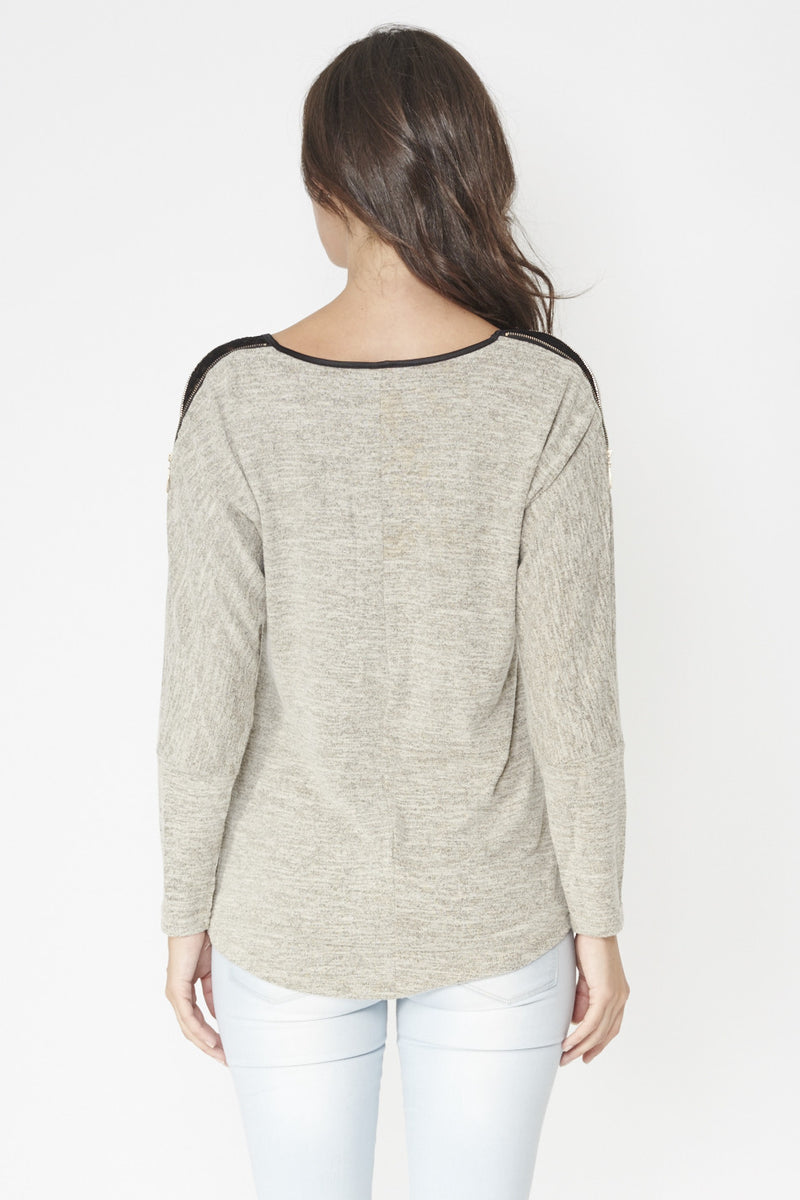 Beige | Trim Detail Batwing Top