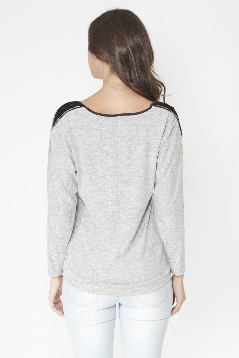Grey | Trim Detail Batwing Top