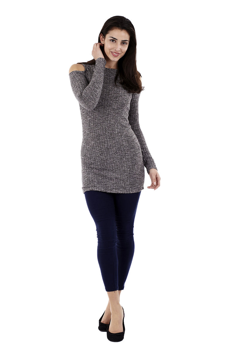 Grey | Cold Shoulder Jumper Dress