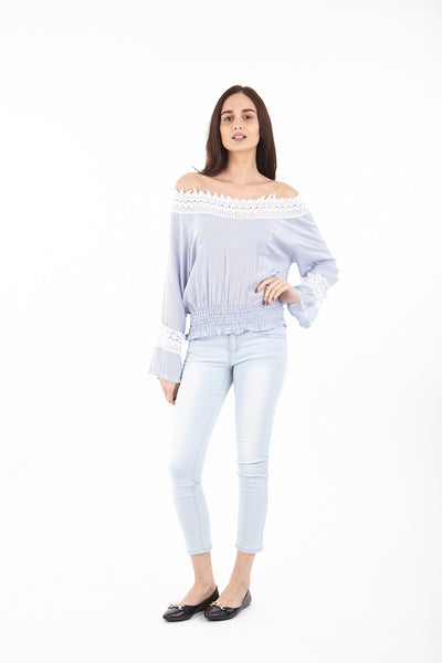 Pinstripe Laced Gypsy Top - Izabel London