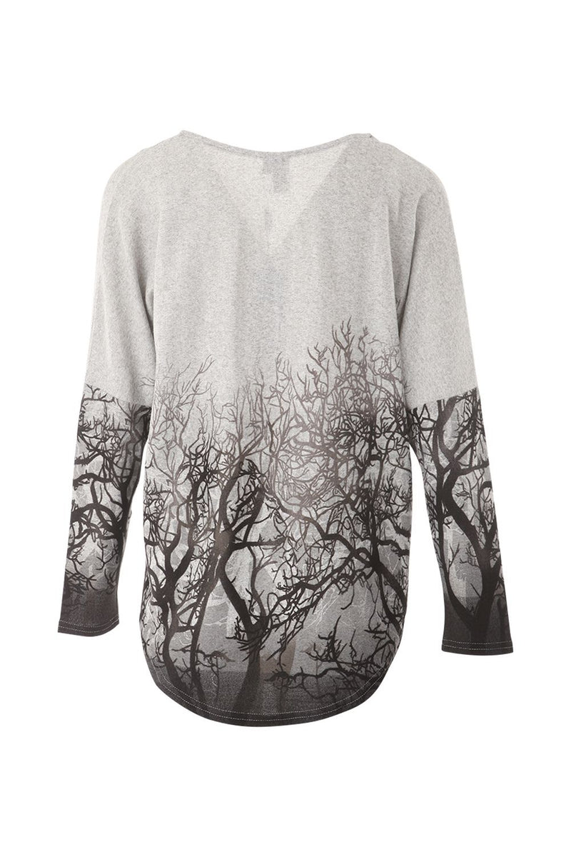 Grey | Forest Print Zip Front Top