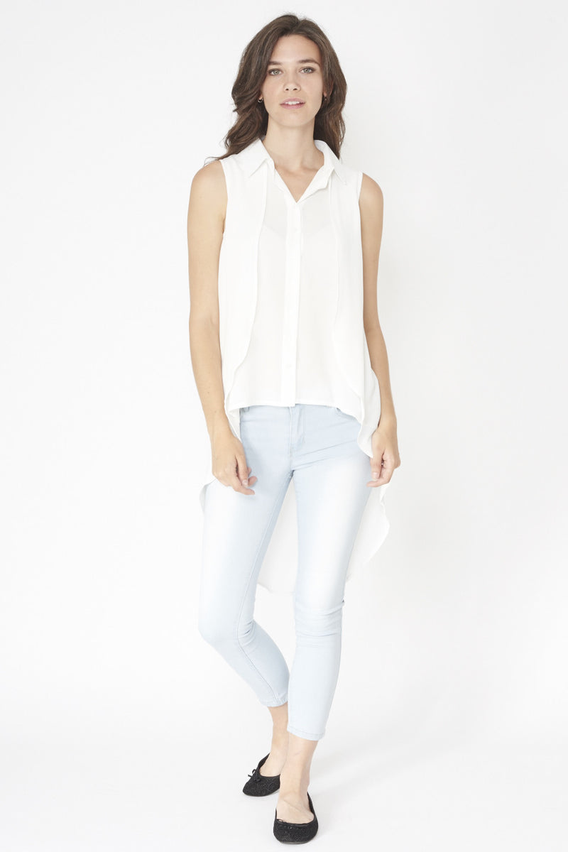 White | Double Layered Blouse Top