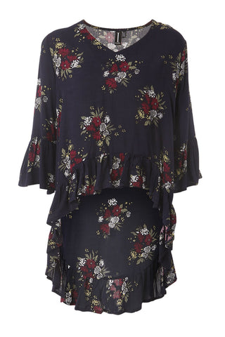 Zip Neck Floral Tunic