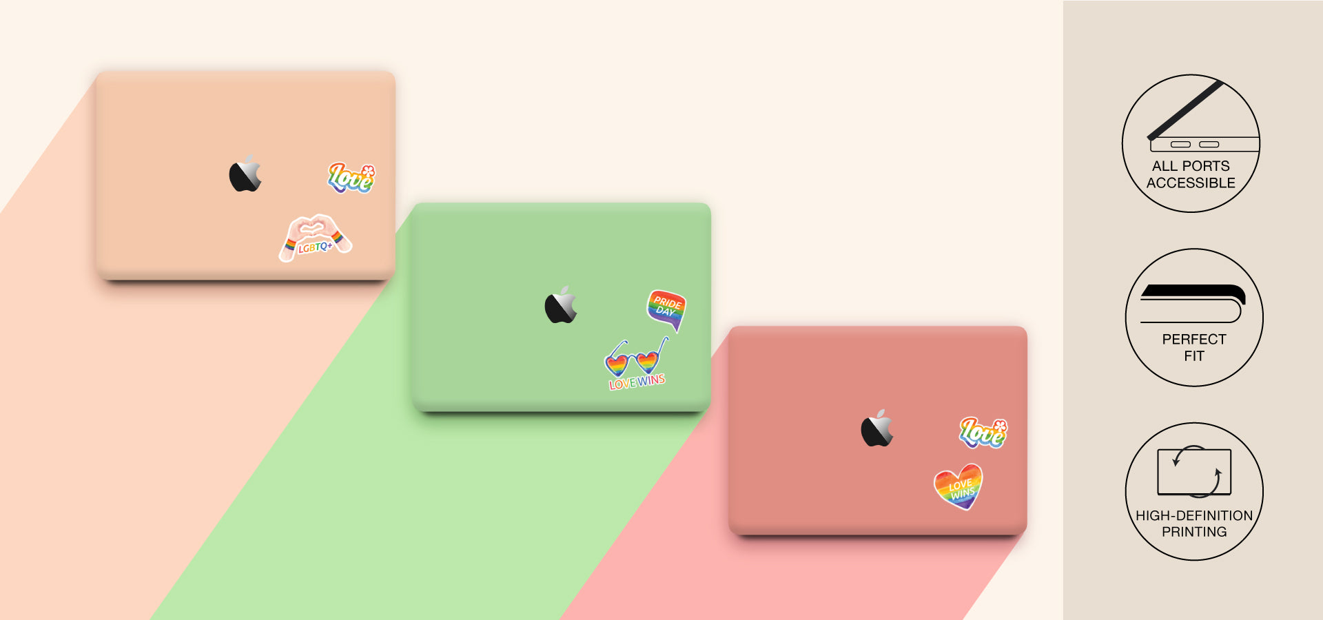 stickers on Macbook cases in pink and green colors