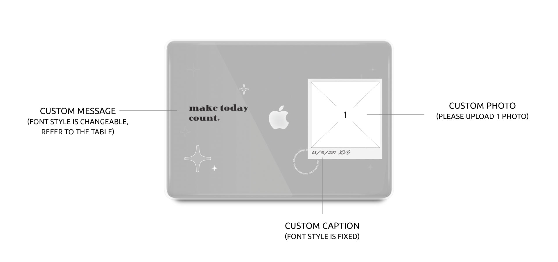custom macbook case with one photo placement and texts
