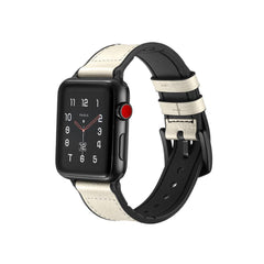 white vintage leather apple watch band