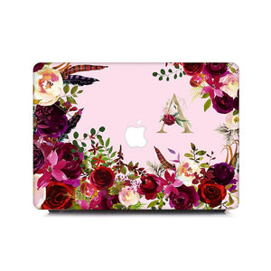 Custom MacBook Case - Floral Initials in Rose Bouquets - Slick Case