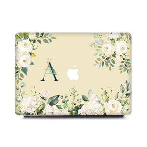 Custom MacBook Case - Floral Initials in Innocent Roses - Slick Case