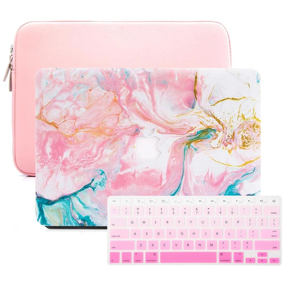Macbook Case Sleeve Package - Abstract Pink Turquoise Paint - Slick Case