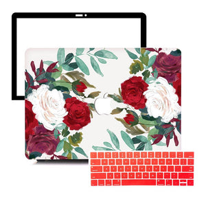 MacBook Case Protective Screen Package - Clustered Roses - Slick Case
