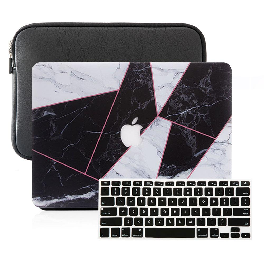 Best Macbook Sleeve Package - MacBook Case Sleeve Package - Criss Cross BW Marble