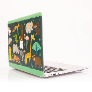 Macbook Sleeve Package [A1534] MacBook 12' / Gradient Keypad - Grey / MacBook Sleeve - Spill-Proof Leather Zip Bag in Navy Blue MacBook Case Sleeve Package - Cute Animal Party