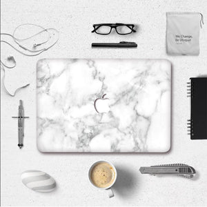 MacBook Decal - Silk White Marble | Slick Case