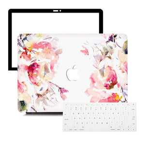Macbook Protective Package [A1370/A1465] MacBook Air 11' / Multi-Color Macbook Keypads - Snowy White MacBook Case Protective Screen Package - Floral Celestial