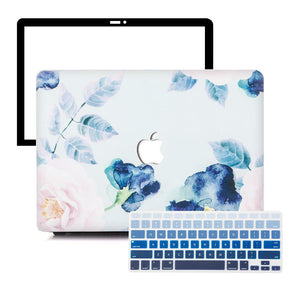 Macbook Protective Package [A1370/A1465] MacBook Air 11' / Gradient Keypad - Blue MacBook Case Protective Screen Package - Floral Paradise