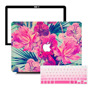 Macbook Protective Package [A1370/A1465] MacBook Air 11' / Gradient Keypad - Pink MacBook Case Protective Screen Package - Florid Garden