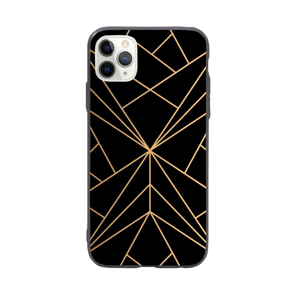 iPhone Case - Geometric Mountain Range in Gold/Black - Slick Case