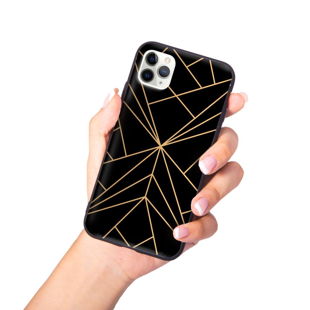 Best iPhone Case - iPhone Case - Geometric Mountain Range in Gold/Black