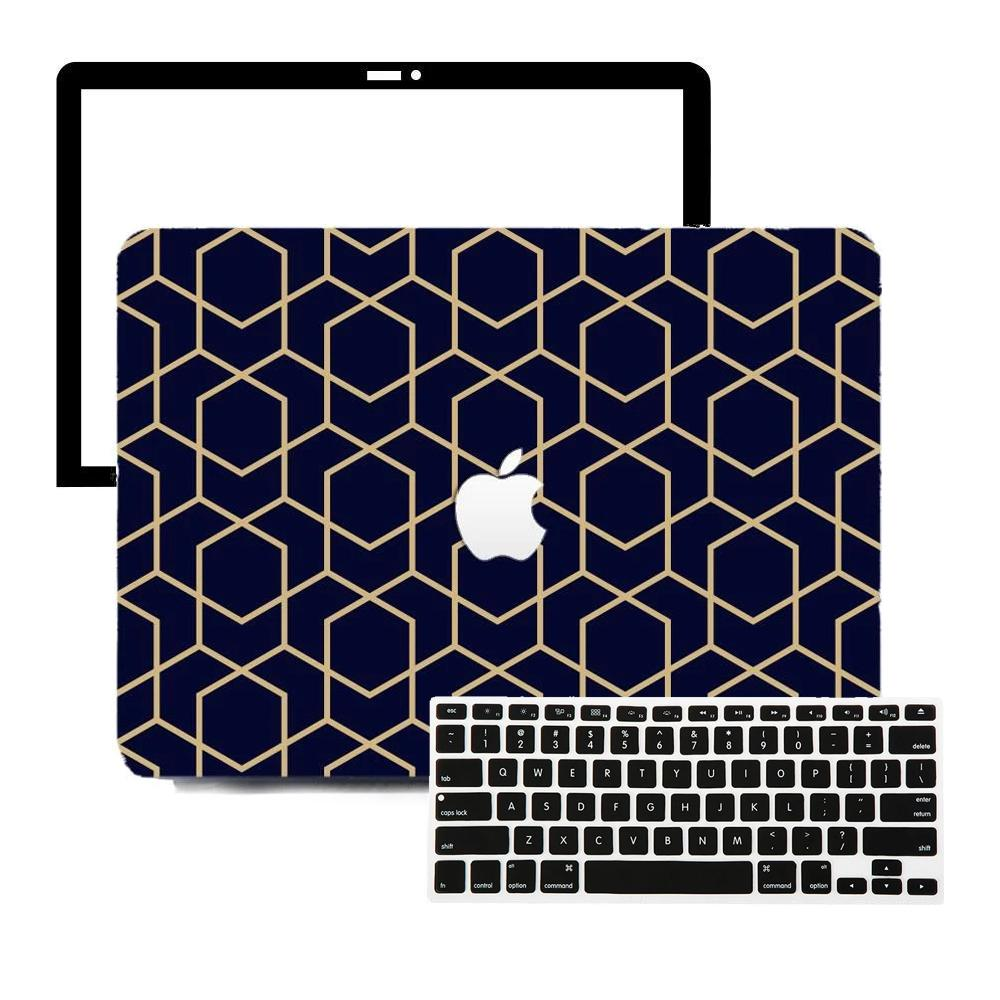 Macbook Protective Package Macbook Case Protective Screen Package - Gold Metro Geometric
