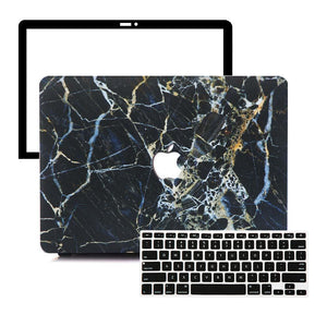Macbook Protective Package [A1370/A1465] MacBook Air 11' / Multi-Color Macbook Keypads - Carbon Black MacBook Case Protective Screen Package - Gold Streak Marble