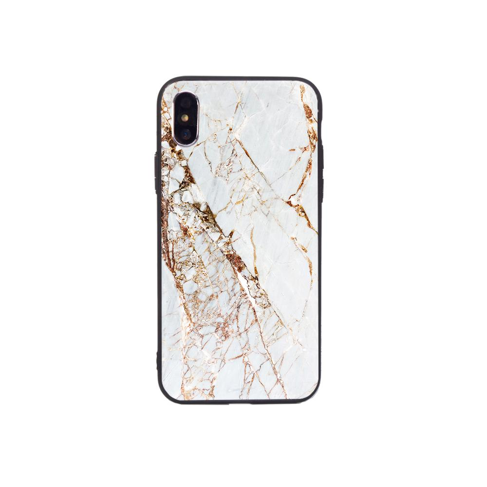 Graphic iPhone Case iPhone Case - Gold Slash Marble
