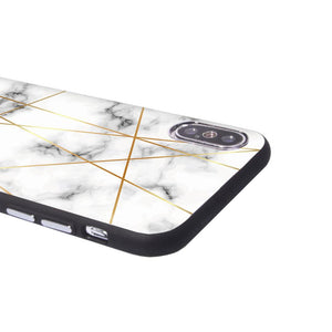 Graphic iPhone Case iPhone Case - Golden Geometric Marble