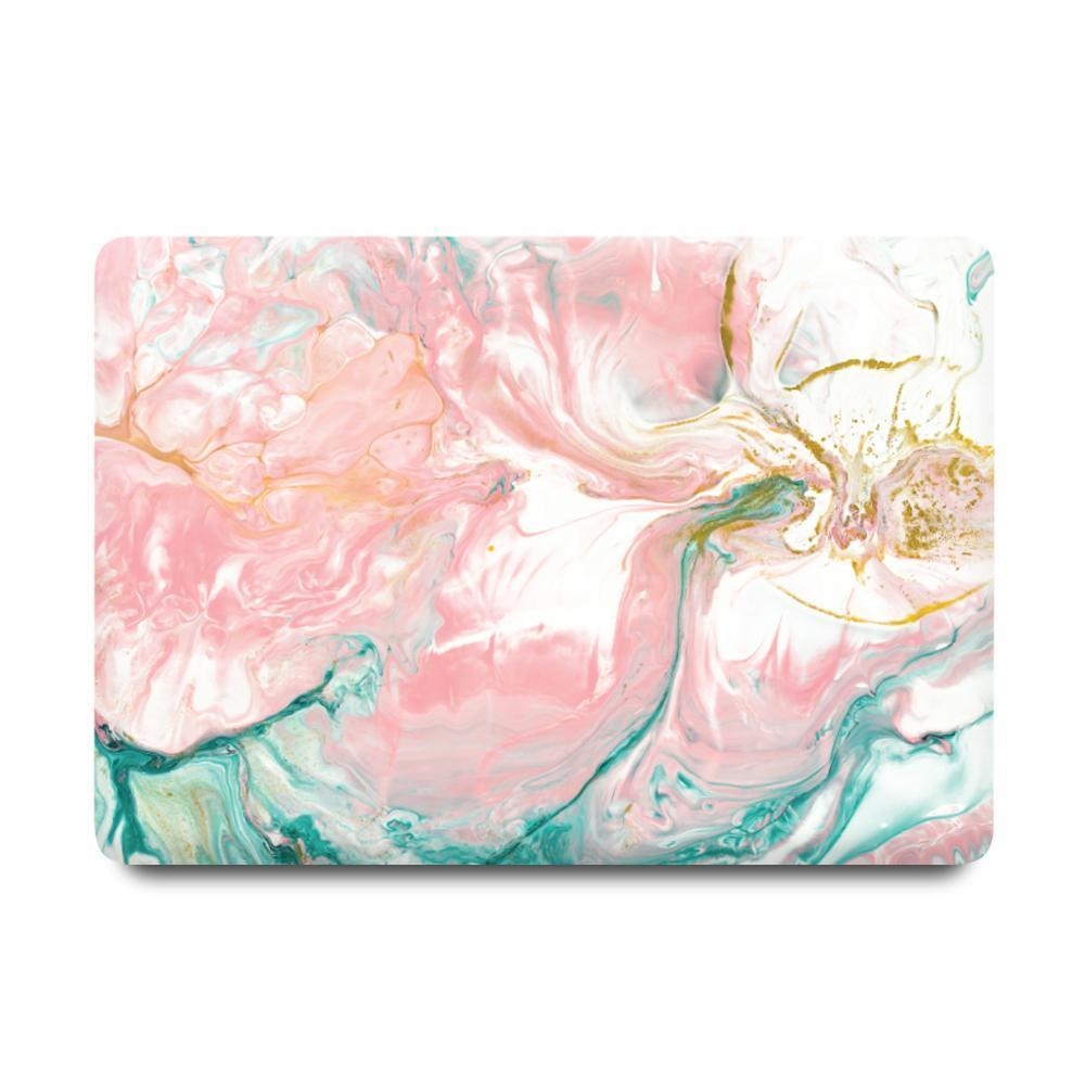 Macbook Sleeve Package [A2141] New MacBook Pro 16' 2019 / MacBook Sleeve - Spill-Proof Leather Zip Bag in Baby Pink / Gradient Keypad - Pink Macbook Case Sleeve Package - Abstract Pink Turquoise Paint